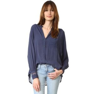 NEW Free People The Best Button Front Blouse Navy